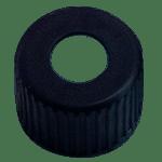 Capuchon à visser noir en polypropylène (PP) avec trou central de 5,5 mm ref 080800