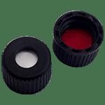 Capuchon à visser en PP, trou central de 5,5 mm avec joint en silicone blanc / PTFE rouge 35° shore A 1,3 mm ref 08080100