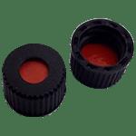 Capuchon à visser en PP, trou central de 5,5 mm avec joint en caoutchouc naturel rouge / PTFE orange, 52° shore A, 1,0 mm ref 08080101