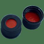 Capuchon à visser noir 13 mm en PP avec trou central de 8,5 mm avec joint en silicone blanc / PTFE 35°shore A 1,3 mm ref 13080101