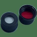 Capuchon à visser noir 13 mm en PP avec trou central de 8,5 mm avec joint en silicone crème / PTFE rouge 55° shore A 1,5 mm ref 13080102