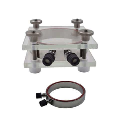 Cellule de migration «MigraControl®» combiné avec plaques de fixation en verre et anneaux centraux en acier inoxydable ref MC-KIT-V-I
